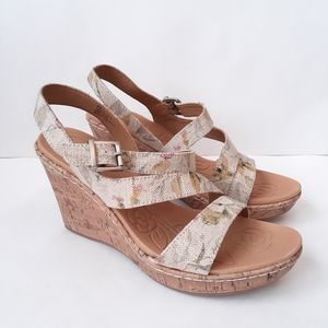 BOC Schirra Floral Cork Wedge Sandals Size 8